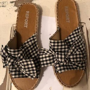 Report gingham slide shoes